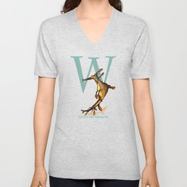W is for Weedy Sea Dragon: Under Appreciated Animals™ ABC nursery decor orange unusual animals Unisex V-Neck