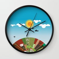 farm Wall Clocks featuring Farm by Design4u Studio