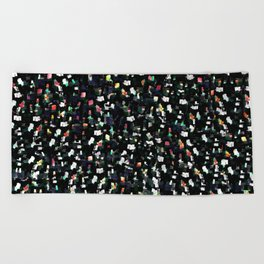 Digital Glitter: Black with Iridescent Sparkles Beach Towel