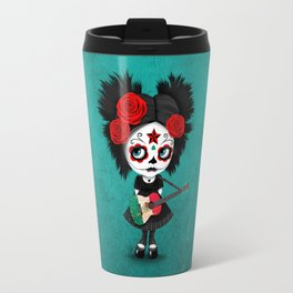 Day of the Dead Girl Playing Mexican Flag Guitar Travel Mug