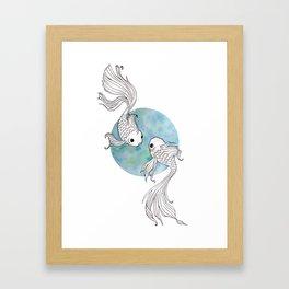 Pisces fish watercolor illustration Framed Art Print