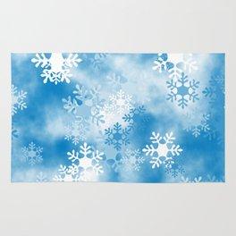 Christmas Elements Blue White Snowflakes Design Pattern Rug