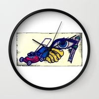 motorcycle Wall Clocks featuring Motorcycle by Funniestplace