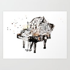 Piano, vintage watercolor piano Art Print