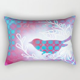 Blue and Purple little birdy Rectangular Pillow