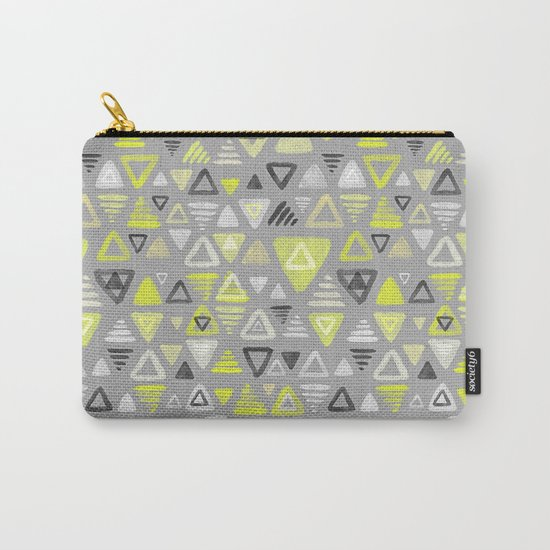 Summer Yellow Triangles on Grey Carry-All Pouch