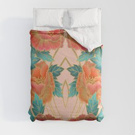 Pink Peonies Pattern with Gold Waves Comforters