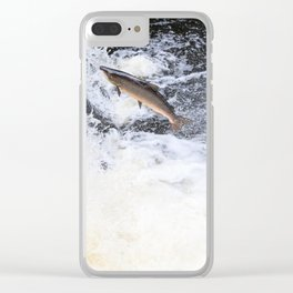 Two salmon leaping up the waterfall Clear iPhone Case