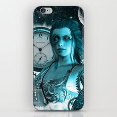 Steampunk lady with clocks and gears iPhone & iPod Skin