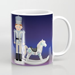 Toy Soldier with Rocking Horse on Christmas Eve Coffee Mug