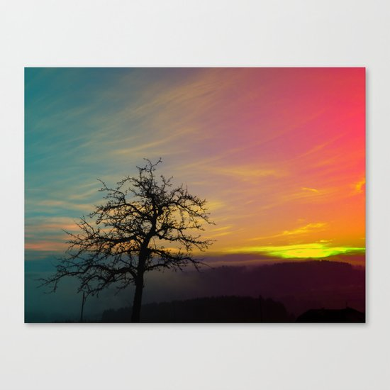 Old tree and colorful sundown panorama   landscape photography Canvas Print