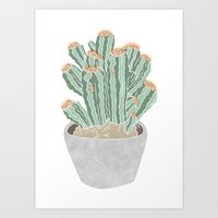 cactus Art Prints featuring Cactus by Veils and Mirrors