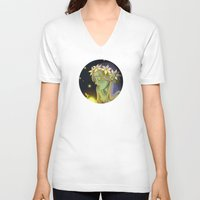 fireflies V-neck T-shirts featuring Dryad and Fireflies by Naineuh