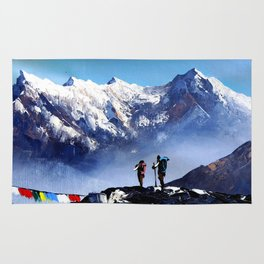 Panoramic View Of Ama Dablam Peak Everest Mountain Rug