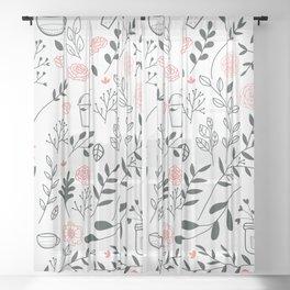 Elegant Floral Sweet Desserts Pattern Sheer Curtain