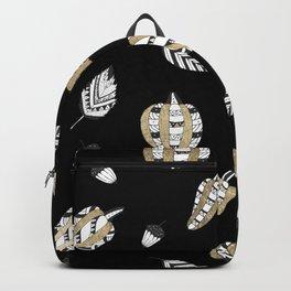 Elegant faux gold black white pumpkins leaves Backpack