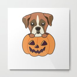 Boxer In Pumpkin Cute Dogs Happy Halloween Metal Print