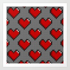Knitted heart pattern - gray Art Print