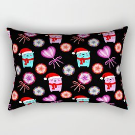 Little baby bears with a red Santa hats, vintage retro lollipops candy. Christmas pattern design Rectangular Pillow