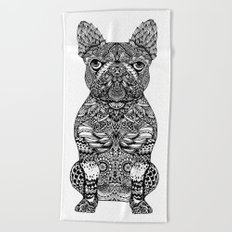 Mandala Frenchie Beach Towel