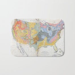 1874 Geological Map of the United States Bath Mat