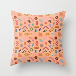 Abstract Kilim in Dusty Peach Throw Pillow