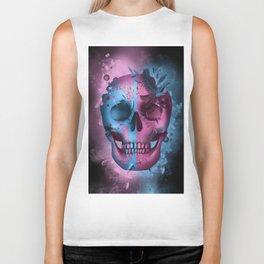 skull black art decor Biker Tank