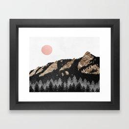 Flatirons Boulder Colorado - Climbing Gold Mountains Framed Art Print