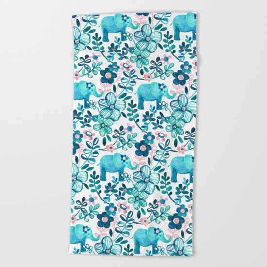 Dusty Pink, White and Teal Elephant and Floral Watercolor Pattern Beach Towel
