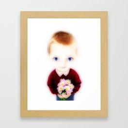 Big Eye Boy with Flowers Framed Art Print