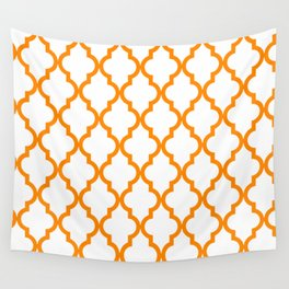 Moroccan Quatrefoil Pattern: Orange Wall Tapestry