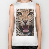 leopard Biker Tanks featuring Leopard   by Brian Raggatt