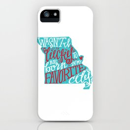 Meet Me In St. Louis - Teal & Red. iPhone Case
