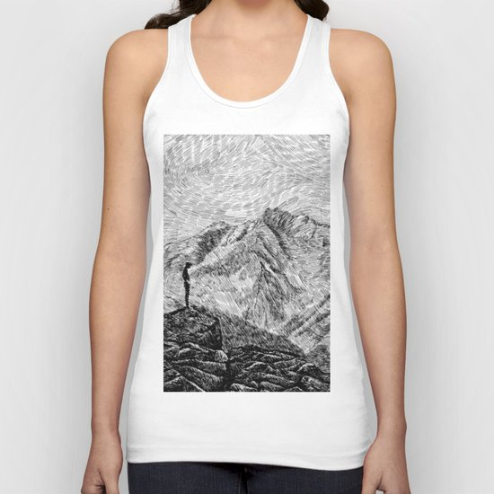 Child on the rock - Black ink Unisex Tank Top