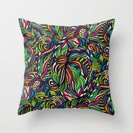 Abstract geometric waves pattern Bright colors Throw Pillow