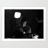 arctic monkeys Art Prints featuring matt helders // arctic monkeys by Hattie Trott