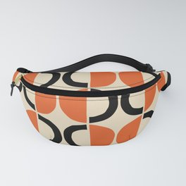 Mid Century Modern Half Circle Pattern 524 Beige Orange and Black Fanny Pack