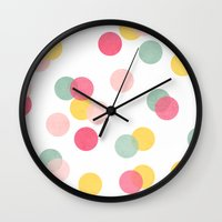 confetti Wall Clocks featuring confetti by her art