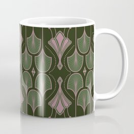 Art Deco Botanical Leaves Dark Green Coffee Mug