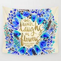 waldo Wall Tapestries featuring The Earth Laughs in Flowers – Gold & Blue by Cat Coquillette