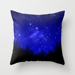 Blue Galaxy Forest Night Sky Throw Pillow