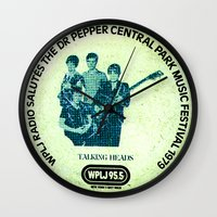 talking heads Wall Clocks featuring Central Park talking heads 1979 by Del Gaizo