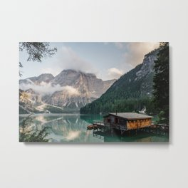 Mountain Lake Cabin Retreat Metal Print