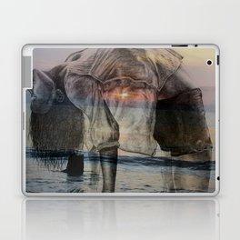 Girl Doing Yoga at the Beach - pastel colors, double exposure sunrise/sunset Laptop & iPad Skin
