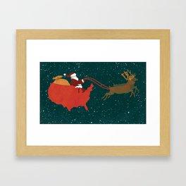 Red White and Blue Christmas Framed Art Print