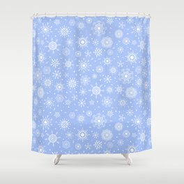 Snowflake white patten on a blue background Shower Curtain