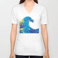 hokusai V-neck T-shirts featuring Hokusai Rainbow_B by FACTORIE