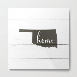 Oklahoma is Home - Charcoal on White Wood Metal Print