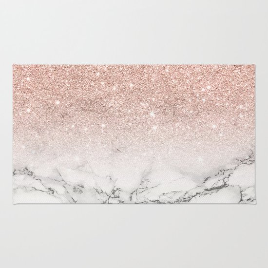 Modern Faux Rose Pink Glitter Ombre White Marble Rug By
