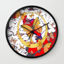 YELLOW  BUTTERFLIES IN WHITE & RED ABSTRACT Wall Clock